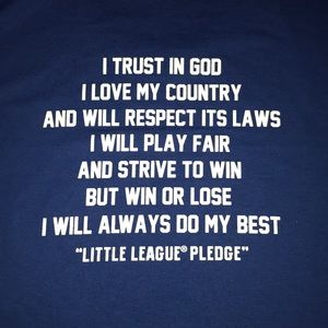 Little League Baseball Pledge T-shirt NWOT XL